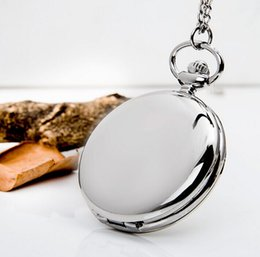 Wholesale Sliver Chain Watch - Big Size Round Smooth Steampunk Pocket Watches Sliver Color With Long Chain Christmas Gift Woman Man Stainless Steel Quartz Antique Necklace