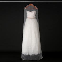 Wholesale Tulle Bags Wholesale - 160cm 180cm Transparent Wedding Dress Dust Cover Soft Tulle Garment Bags Bridal Gown Scratch Resistant Net Yarn Bag