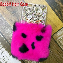 Wholesale Real Diamond Iphone Case - For iPhone X Rex Rabbit Hair Warm Fur Soft Plush Leather TPU Case Real Luxury Bling Diamond Rhinestone Back Cover For iPhone 8 7 Plus 6 6S