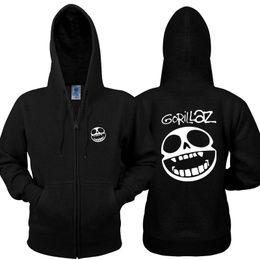 Wholesale Virtual Woman - 2017 new sweatshirt rock virtual band Gorillaz Sweatshirts cotton zipper hoodies fleece thickened men and women hoodie