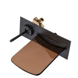 Wholesale Bronze Wall Faucet - Black Bronze washbasin tap new simple glass waterfalls the wall mounted water faucet