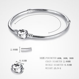 Wholesale Leather Bracelet Wholesale - PAN 3mm 118-21cm 925 Silver Plated Bracelet Chain with Barrel Clasp Fit European Beads Pan Bracelet wholesale Snake Chain