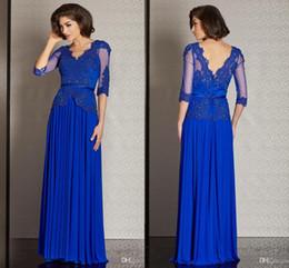 vestido de madre azul turquesa novia Rebajas Vestidos de madre azul real con cuello en V medias mangas de gasa apliques de encaje lentejuelas cuentas largo madre de la novia novio vestidos vestido de noche formal