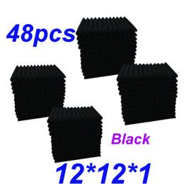 Paquet de 48 tuiles en mousse pour studio insonorisation acoustique NOIR, noir et blanc, 1