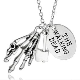 Wholesale Day Dead Skulls - alloy child Lettering round card The Walking Dead skull Skeleton hand necklace Hatchet axe ax pendant Zombie Ghost claw necklace 2017 x306