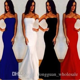Wholesale Trendy Evening Dresses Women - Nice New Sexy Women Strapless Wrapped Long Maxi Dress Formal Wedding Evening Party Gown Bridesmade Prom Mermaid Trendy White Dresses