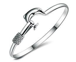 Wholesale Mesh Chain Bracelets - 2017 Hot sale factory price 925 silver charm bangle Fine Noble mesh Dolphin bracelet Girl   Madam fashion jewelry 20pcs lot
