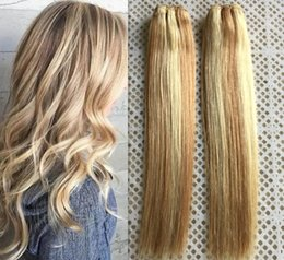 Wholesale Honey Blonde Hair Weave - Fashion Style Mix Piano Color #27 #613 Brazilian Remy Human Hair Bundles Piano Color Honey Blonde and Blonde Human hair Weft 100g set