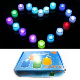 Wholesale Color Changing Tea Light Led - Wedding Favor Color Self-motion Changing Small Tea Light Wine Cup Flameless Plastic Electronic LED Candle For Home Decorations
