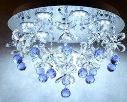 Wholesale Beautiful Modern Bedrooms - beautiful design purple crystal chandelier ceiling LED light fixtures diameter 50cm lustre bedroom lamp free shipping MYY