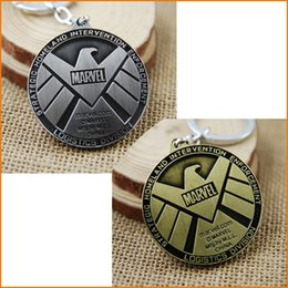 Wholesale Agent Car - Agents of S.H.I.E.L.D. Keychain Shield Badge Pendant Keychains Marvel The Avengers Logo Movie Key Ring Chain