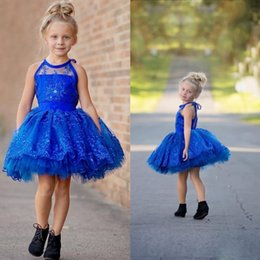 Wholesale Mini Flowers Royal Blue - Royal Blue Halter Tutu Gown Flower Girl Dresses Special Occasion For Weddings Mini Length Kids Pageant Gowns Sleeveless Communion Dress