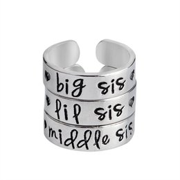 Wholesale Brother Love - 3 pcs Big Sis Middle Sis LiL Sis Ring Set Silver Color Love Heart Opening Ring For Best Friends Sister Brother Letters Jewelry