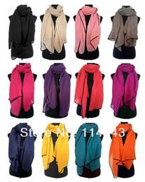 Canada Gros-mode solide plaine couleur Twill écharpe châle Wrap noir Border femmes accessoires Hijab, livraison gratuite supplier wholesale wrapping scarf Offre