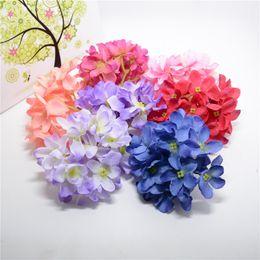 Wholesale Cheap Bouquets For Weddings - Wholesale- Cheap 12pcs combo Silk Hydrangea Artificial Flower Head For Wedding Car Decoration DIY Garland Decorative Floristry Fake Flowers