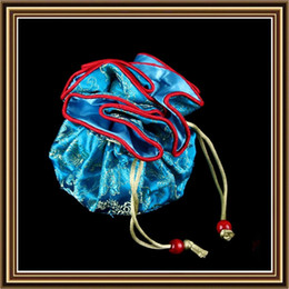 Wholesale Silk Chinese Drawstring Pouch - Portable Travel Round Bottom 8 Pouch Bag Chinese Silk Brocade Jewelry Storage Bag Drawstring Bucket Bag Packaging Bags Party Favor