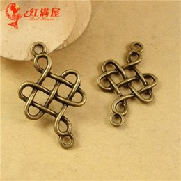 Wholesale Antique Chinese Charm Bracelet - A2293 31*18MM Antique Bronze China node manual DIY retro jewelry materials, Chinese knot charm pendant beads lot, charms for bracelets