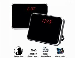 Wholesale Clock Style Digital Camera - 8GB HD 720P Spy Camera Digital Mirror Clock Style Hidden Camera DVR With Motion Detection & Remote Control Security Camera Nanny Cam