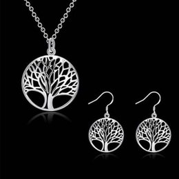 Wholesale Wedding Jewery - Wholesale 925 Silver Plated living Tree of life Pendant Necklace Fit 18inch O Chain or earrings Bracelet Ring for Women Girl Jewery Set