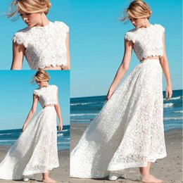 Wholesale Two Piece Bridal Wear - 2018 Newest Two Pieces Full Lace Beach Weddding Dresses With Short Sleeves Vintage Jewel Neck Cheap Bridal Gowns Formal Party Wear
