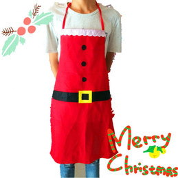 Wholesale Fasion Clothes - Christmas Decorations Christmas Restaurant Uniforms Santa Claus Clothes Apron Fasion Women's Christmas Dress with Free Shipping