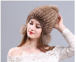 Wholesale Ladies Mink Hats - 1pcs Autumn and winter warm winter mink hat three ball cap hat knitted fur Earmuffs Ear cap painted lady