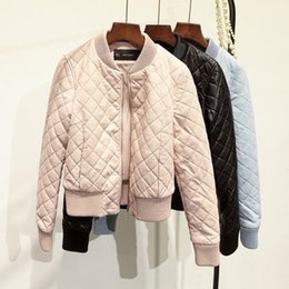 Wholesale Diamond Lattice Jacket - 2017 Fashion Autumn Winter Diamond lattice black pink blue jacket cotton PU Leather Women Bomber Jacket zipper coat