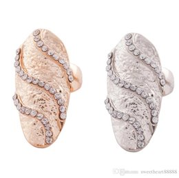 Wholesale Ring Finger Nail Designs - New 2colors Cute Retro Exquisite Queen Rhinestone Crystal Waves Design Gold Silver Ring Finger Nail Rings