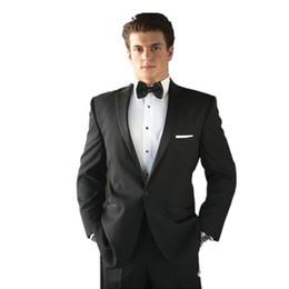 Wholesale Wool Shawl For Wedding Dress - Customized men suits for wedding Luxuriant Soft Wool One Button Peak Lapel Black Men Dress suits men Groom Wear(Jacket+Pants)
