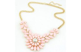 Wholesale Bubble Bib Fashion - Gem Flower Bib Necklace Bib Bubble Fashion Charm Jewelry Chain Pendant Crystal Choker Statement Bib Necklace
