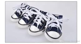 Wholesale Wholesale Plimsolls Shoes - E55 4pcs lot Pet dog canvas shoes Dog Pet Shoes Pet plimsolls dog sneakers free shipping