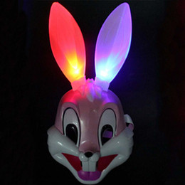 Wholesale Led Bunny Ears - Wholesale-LED Bunny Rabbit Long Ear Mask Pink Face Childs Boys Girls Adult One Size Fun Decor