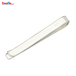 Wholesale 925 Tie Clip - Pure 925 Sterling Silver Tie Clip Blank Personalized Men's Tie Bar Jewelry Making Wedding Gift ID36515