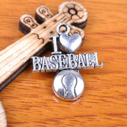 Wholesale Baseball Necklace Charms Silver - Hualu 7248 100 Pieces 22*19mm Sport Football I Love Baseball Charms Tibetan Silver Jewelry Pendant Making Fingding necklace Bracelet Earring