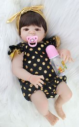 Wholesale Figure Earrings - 55cm Full Silicone Body Reborn Baby Doll Toy Realistic Newborn Princess Babies Doll With Earring Girl Brinquedos Bathe Toy