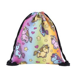 Wholesale Wholesale Ostrich Bags - 200pcs lot Space Cats 3D printing Mini Backpack Women Bags Fashion Drawstring Bag Mochila Feminina Travel Bag Backpacks
