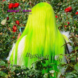 Wholesale cheap cosplay - Wholesale Price New light Clear Color Wig Cheap Long straight Lace Front Wig Synthetic Neon Green  yellow Ombre Green color Cosplay wigs