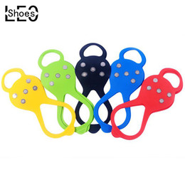 Wholesale Snow Gear - Wholesale-LEO Outdoor Gear 5 Tooth Ice Grippers Camping Climbing Anti Slip Crampon Snow Walking Shoes Crampons Lake Fishing Ice Gripper