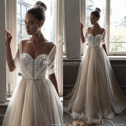 Wholesale Neck Jewellery - illusion half sleeves vintage jewellery beaded bodice ball gown wedding dresses 2018 elihav sasson chapel train wedding gowns