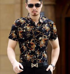 мужская одежда Скидка Китайский Стиль Дракон Pattern Печати Шелк Бизнес Повседневная С Коротким Рукавом Рубашки Мужская Летняя Мода Дышащий Платье Рубашки