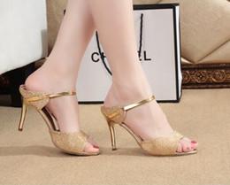 Wholesale Sliver High Heels - High Heels Sandals Gold Sliver Ankle-Wrap Women Sandals Beautiful Ladies Sandals Summer Shoes Gladiator Heels