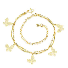 Wholesale Gold Butterfly Anklet - Gold Vermeil Dangling Butterflies Ankle Bracelet Double Chain Anklet