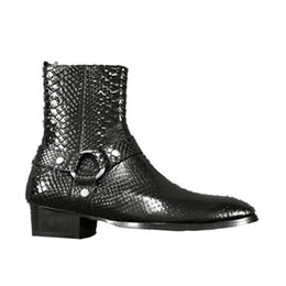 Wholesale Denim Cowboy Boots - High End 17 New custom crocodile pattern embossed genuine leather slp Martin boots denim personality fashion Chelsea men boots