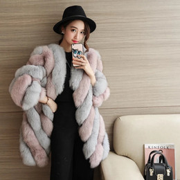Wholesale Sexy Woman Strip - Autumn and winter new women sexy thin fur coat imitation fox fur fur coat long section Europe and the United States fashion coat