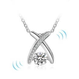 Wholesale Diamond Jewellery Wholesalers - Rotatable Dancing Stone 925 Sterling Silver Pendants Necklaces Charm Love Necklace dancing diamond jewellery For Women