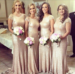 Wholesale Draped Charmeuse Dress - 2016 New Elegant Cheap Sequined Long Bridesmaid Dresses Sexy Jewel Neck Short Sleeve Lace Backless Glitz Sheath Prom Gowns For Party BO7240