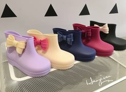 Wholesale Jelly Color Boots - Hot Sale Melissa Children Girls Bowknot Footwear Anti-Slip Candy Color Rain Shoes Boots Children Jelly Shoes Princess PVC Flat Boot B4151