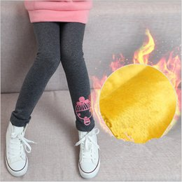 Wholesale Embroidery Leggings - Free shipping 2016 cute winter warm embroidery leggings tights pant girl kids cotton lining soft nap 3-12 years