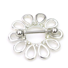 Wholesale Piercing Flower - 0660 Nice flower style NIPPLE ring piercing jewelry 10 pcs clear color stone drop piercing body jewelry shipping
