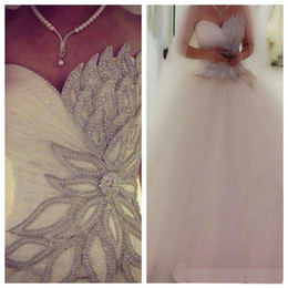 Wholesale Made Pics - 2016 Real Pic Ball Gown Wedding Dresses Custom Made Sweetheart Beaded Beach Wedding Dresses With Tulle Lace up Floor Length Bridal Gowns